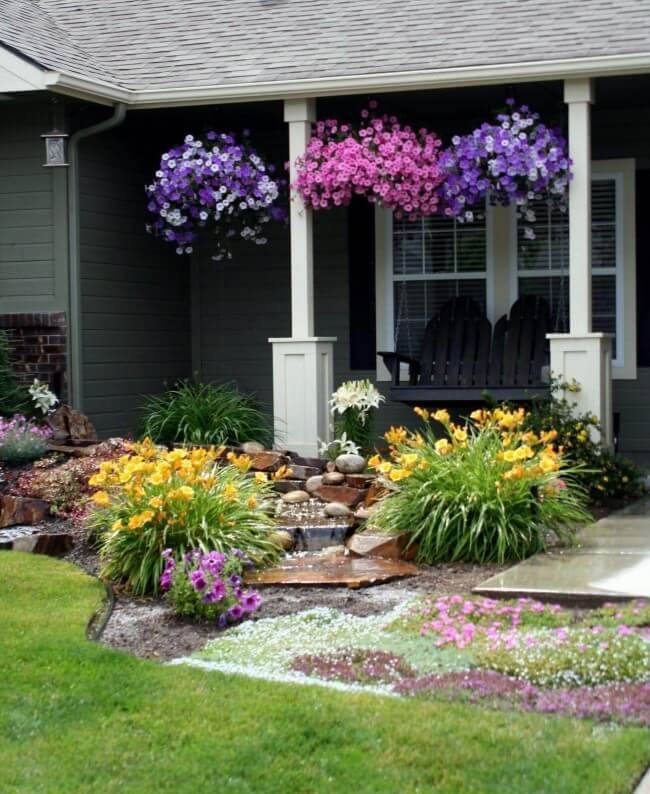 Porch Full of Petunias Front Yard Landscaping Ideas Drought Tolerant